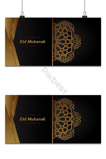 eid mubarak fondo negro y dorado tarjeta de felicitación decorativa diseño vectorial islámico Fondos Modelo AI