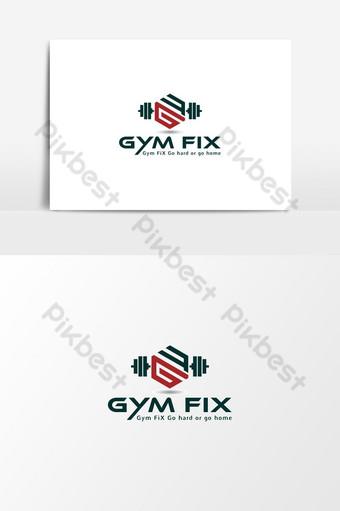 logotipo de fitness y gimnasio con letra gf Elementos graficos Modelo AI