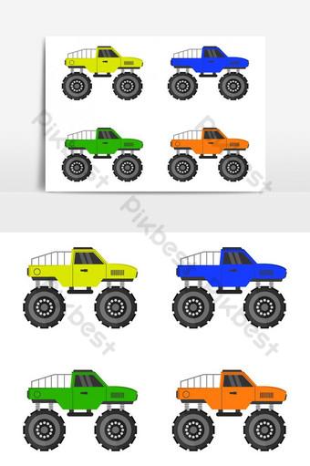 icono de camión monstruo ilustrado sobre fondo blanco Elementos graficos Modelo EPS