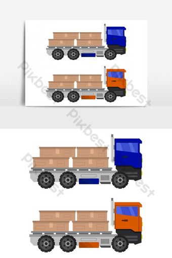 Icono de camión con caja ilustrada sobre fondo blanco. Elementos graficos Modelo EPS