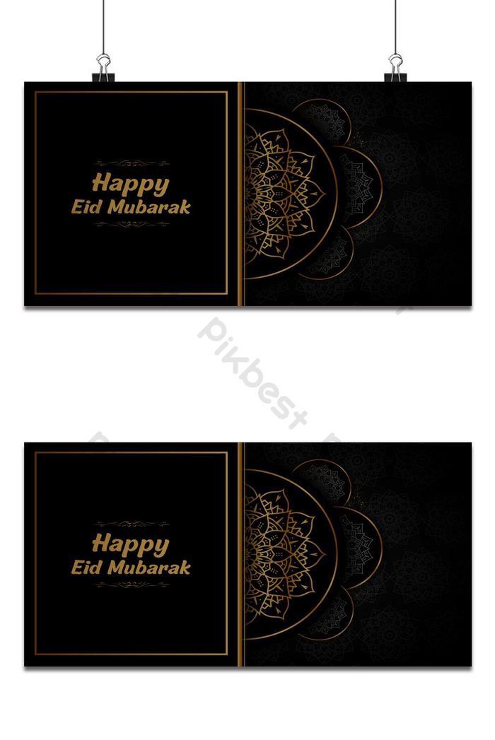 eid mubarak sfondo nero e dorato decorativo biglietto di auguri disegno vettoriale arte islamica