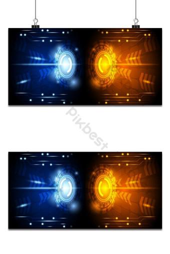 Fondo de tecnología de velocidad de concepto azul y naranja brillante abstracto con patrón de circuito Fondos Modelo EPS