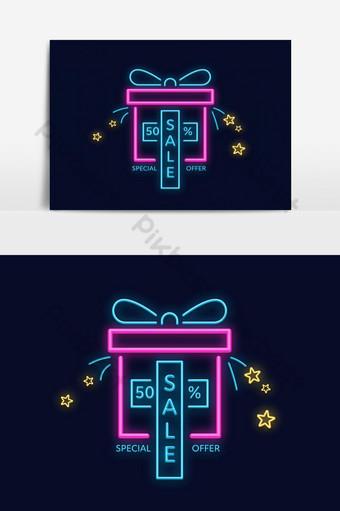 Diskon 50 persen promosi spanduk neon berwarna-warni dalam bentuk hadiah atau hadiah Elemen Grafis Templat EPS