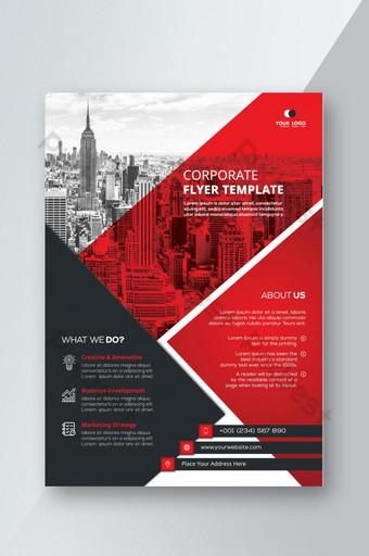 Plantilla de diseño de folleto de volante corporativo rojo creativo y moderno Modelo PSD