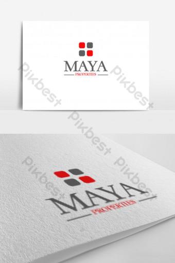 لون مختلط أحمر رمادي شعار مايا للشركة قالب AI