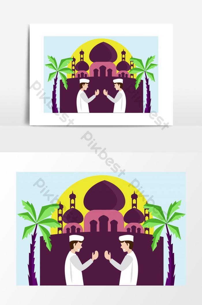 eid ul fitr muslim greeting graphic elemen