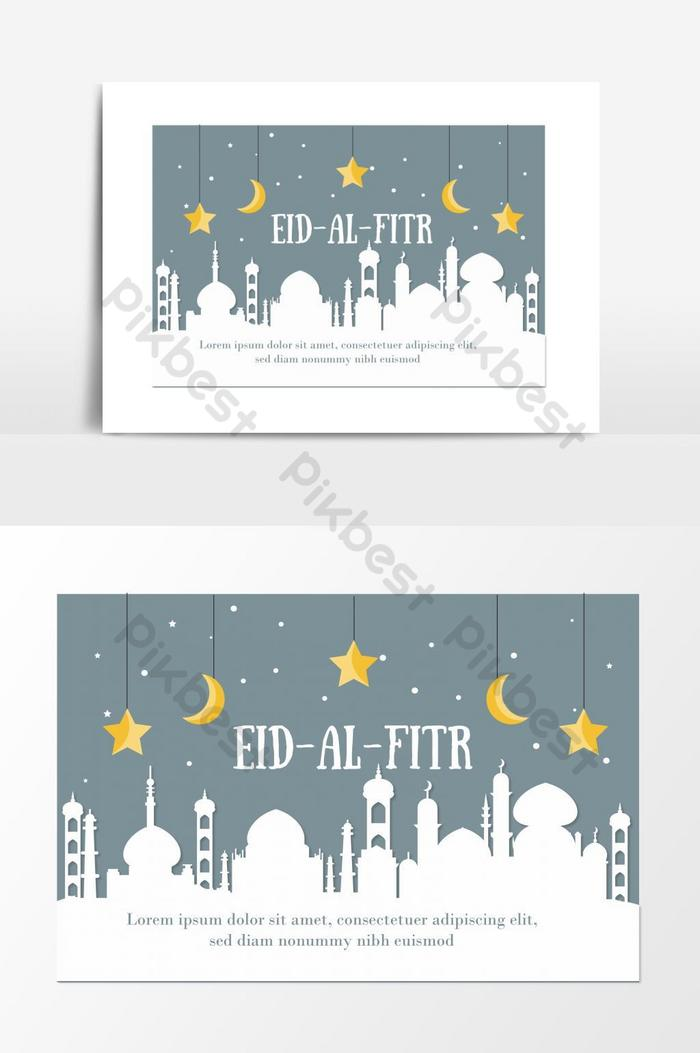 happy eid ul fitr muslim event illustration