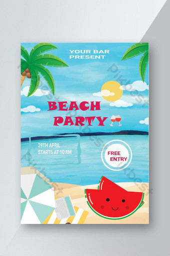 Flyer de fiesta de playa de verano Flyer de eventos de fiesta de playa Modelo PSD