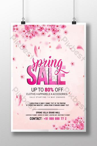 cartel de venta de primavera floral rosa psd Modelo PSD