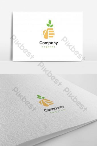plantando la mano con el logo de la hoja Modelo AI