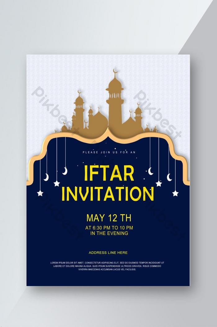Flyer Jemputan Iftar Dengan Seni Islam Dan Latar Belakang Biru Psd Percuma Muat Turun Pikbest