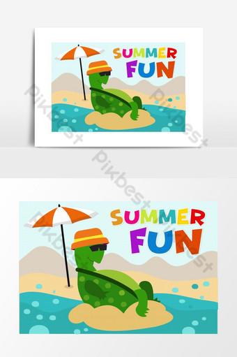 الصيف متعة كبيرة وقت الشاطئ التوضيح صور PNG قالب AI