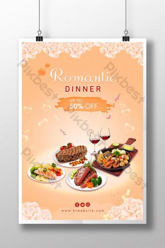 Cena romántica con filete a la parrilla al vino tinto y camarones. Modelo PSD