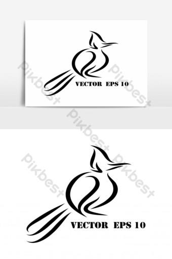 arte de línea vector logo de pájaro bulbul bigotudo rojo eps 10 Elementos graficos Modelo EPS