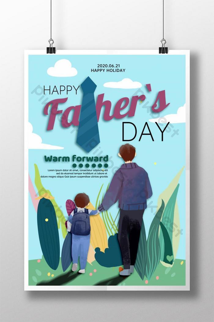 poster ngày của cha phong cách minh họa