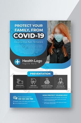 Projekt ulotki Corona Virus Covid 19 Prevention and Awareness Szablon AI