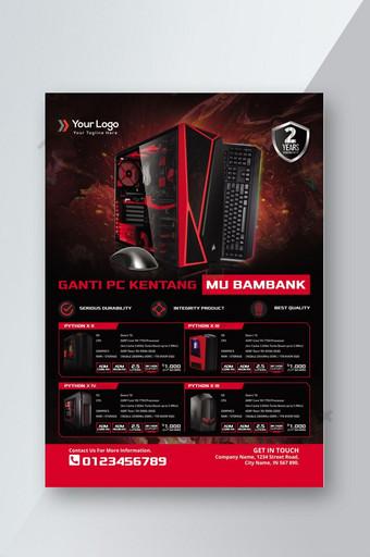 selebaran katalog produk game pc untuk promosi penjualan Templat PSD