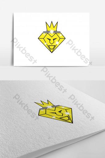 la plantilla de logotipo de rey león diamante Modelo AI