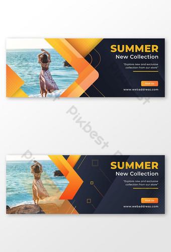 Modello di copertina di facebook banner vendita estiva Sagoma AI