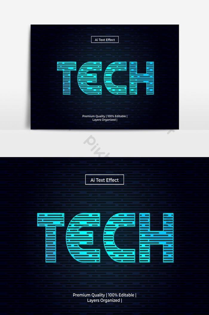 เทคสไตล์เอฟเฟกต์ข้อความเทคโนโลยีแบบอักษรตัวอักษรที่ทันสมัยวิชาการพิมพ์ในเวกเตอร์แนวคิดเทคโน