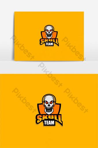calavera logo de esport calavera con auriculares con amarillo Elementos graficos Modelo EPS