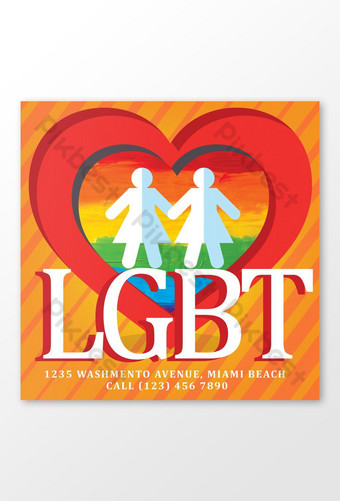 مرحبا فخر يوم مثلي الجنس قالب المشاركات قالب PSD
