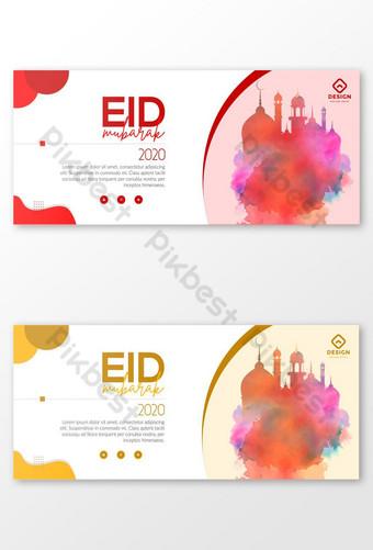 increíble creativo moderno diseño de banner web mínimo simple para eid mubarak Modelo AI