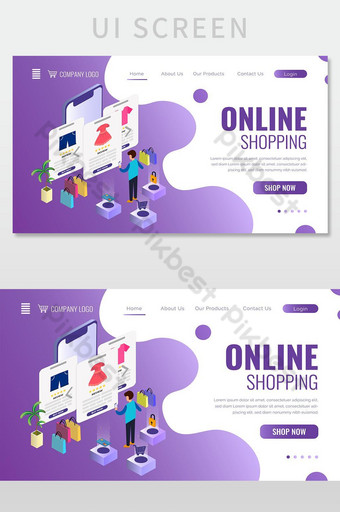 Isometric Online Shopping Concept Web Landing Page Design UI Template AI
