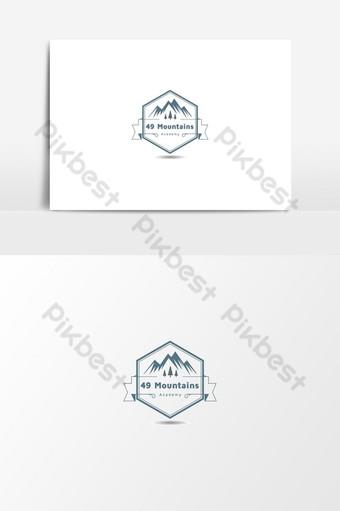 academia de marketing de montaña y diseño de logotipo de aventura de expedición. Elementos graficos Modelo PSD