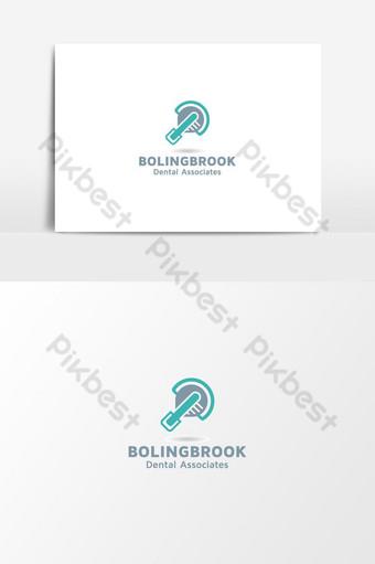 Inspiration de conception de logo de dent de clinique dentaire plat Éléments graphiques Modèle AI