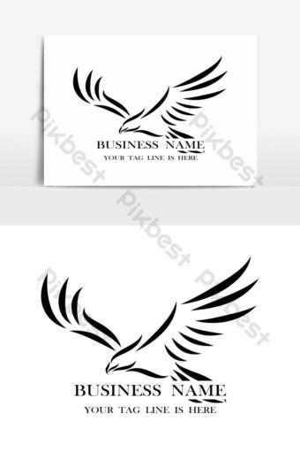 línea de arte vector logo de águila que está volando Elementos graficos Modelo EPS