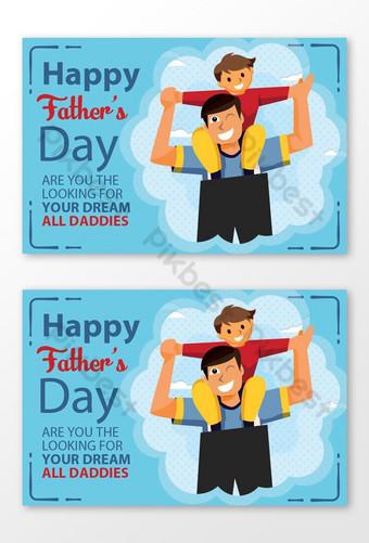 قالب تصميم بطاقة عيد الأب سعيد قالب PSD