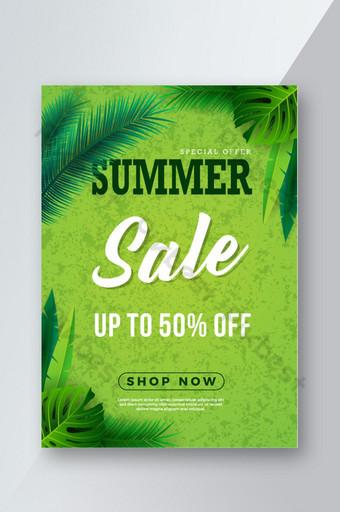 Modèle de conception de flyer de vente d'été avec flyer de format A4 feuille verte Modèle AI