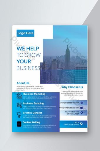 創意現代經典獨特企業藍色傳單設計模板 模板 AI