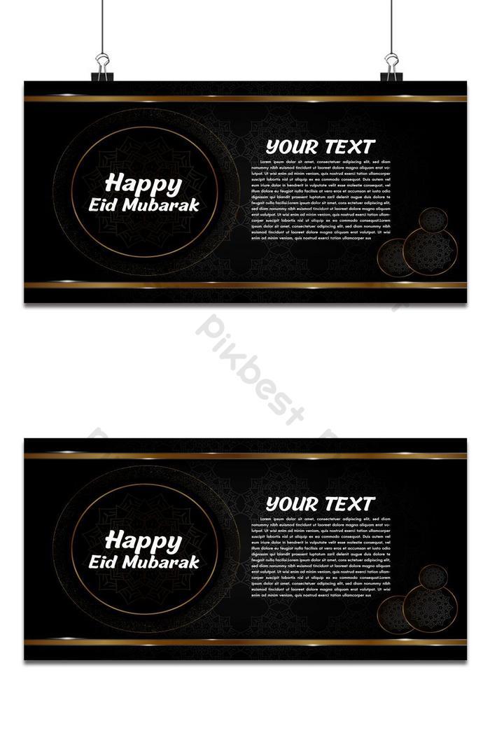 eid mubarak sfondo nero e dorato decorativo biglietto di auguri disegno vettoriale