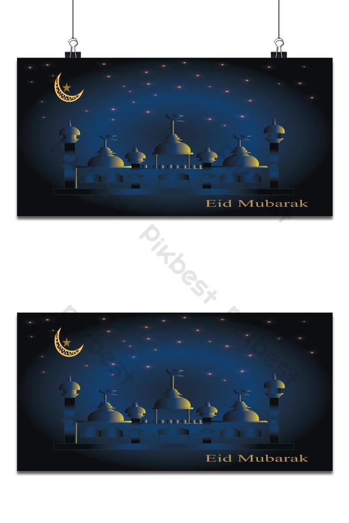 夜空多彩清真寺和標題齋月穆巴拉克