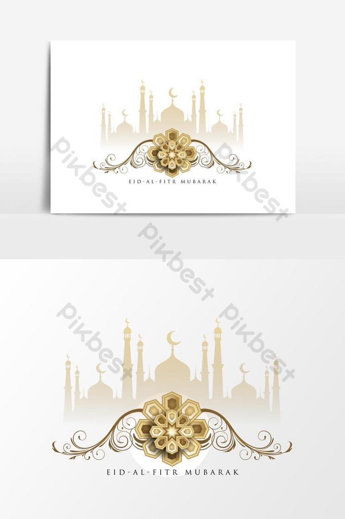 eid al fitr eid mubarak phần tử vector đạo hồi