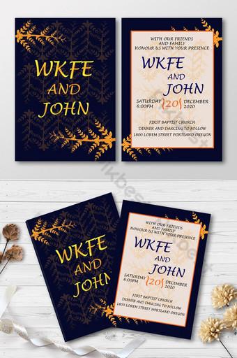 Belle carte d'invitation de dîner de style floral noir jaune et orange Modèle AI