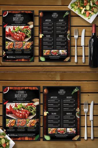 الظلام خمر الخشب والأعشاب مطعم قائمة الطعام قالب نشرة قالب PSD