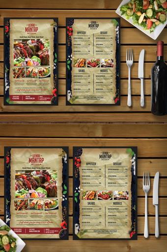 Modèle de flyer de menu de restaurant vintage bois et vieux papier Modèle PSD