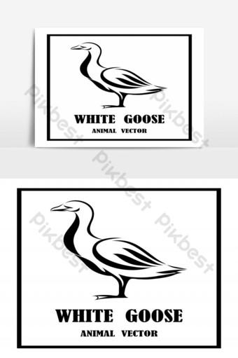 Ilustración de arte de línea vectorial logo de un pato está de pie es blanco y negro Elementos graficos Modelo EPS