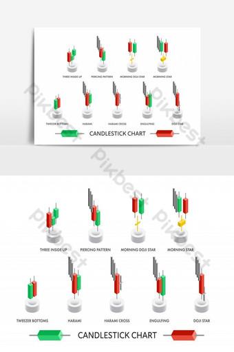مخطط نموذج شمعدان متساوي القياس لتحليل حركة السوق صور PNG قالب EPS