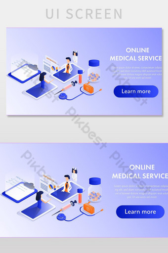 Concept medical service isometric design banner. UI Template EPS