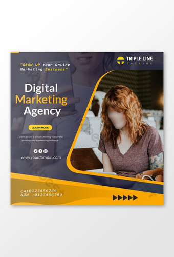 Modello di post per social media di marketing digitale Sagoma PSD