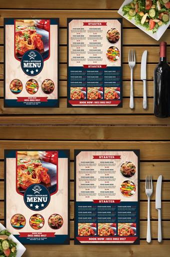 plantilla de libro de menú de comida de restaurante de estilo vintage Modelo PSD