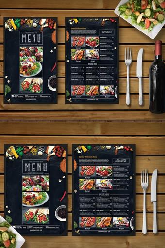 Plantilla de volante de menú de comida de restaurante de estilo vintage Modelo PSD