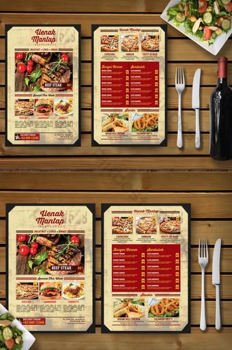 Plantilla de volante de menú de comida de restaurante de estilo vintage simple Modelo PSD