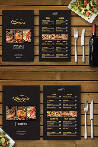 plantilla de restaurante de menú de comida simple negro Modelo PSD