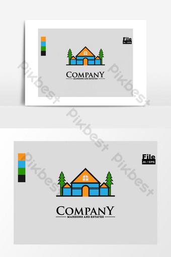 inmobiliaria villa resort construcción casa logo Elementos graficos Modelo AI
