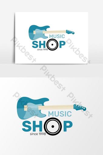 el más nuevo mundo creativo guitarra música tienda vector logo minimalista Elementos graficos Modelo AI